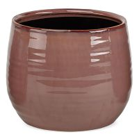 Pflanztopf leichte Rillenstruktur Übertöpfe Keramik rund altrosa 1 Stk Ø 12x11 cm 12 cm