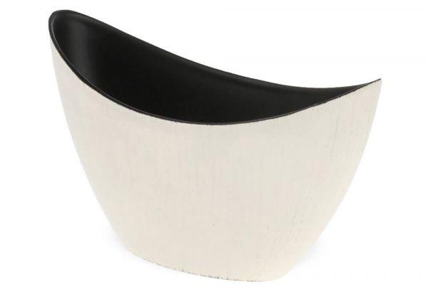 Jardiniere Pflanzschale oval Pflanzgefäß creme schwarz glänzend 1 Stk 20x9x12 cm