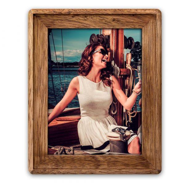 Bilderrahmen Wechselrahmen Fotorahmen Rahmen Holz braun runde Ecken 15x20 cm