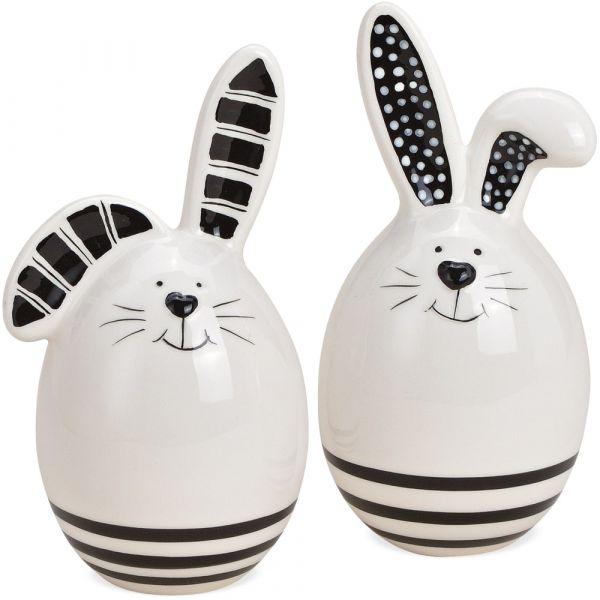 Osterhasen Hasen Dekofiguren Ostereier weiß schwarze Streifen 2er Set 14 cm
