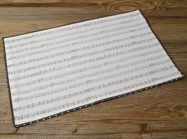 Tischset Platzset Landhaus Premium KLARA Notenzeilen Einfassband grau 33x48 cm