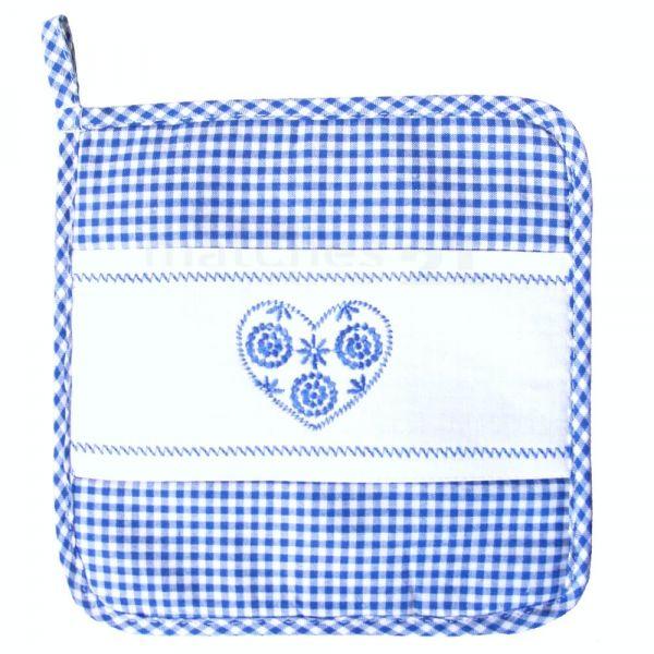 Topflappen Landhaus Karo blau weiß & Herz Untersetzer Tischwäsche 20x20 cm 1 Stk