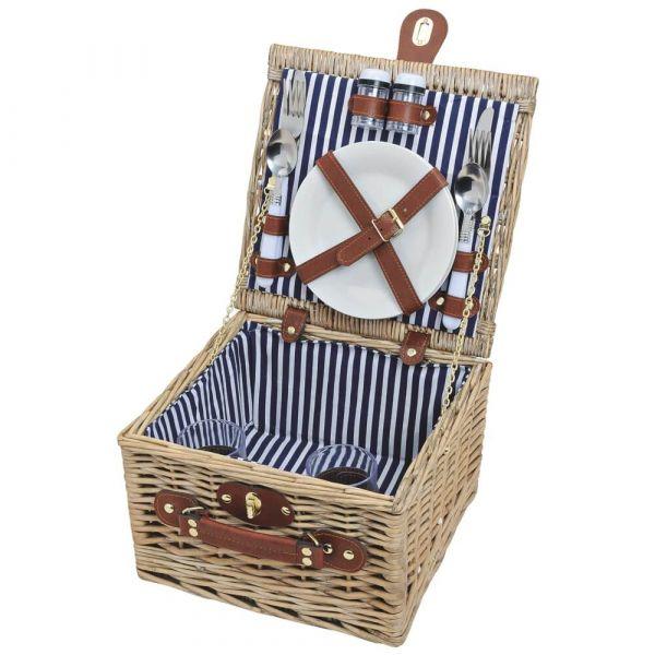 Picknickkorb 2 Personen Weidenkorb braun blau 14-tlg inkl Mehrweg Geschirr
