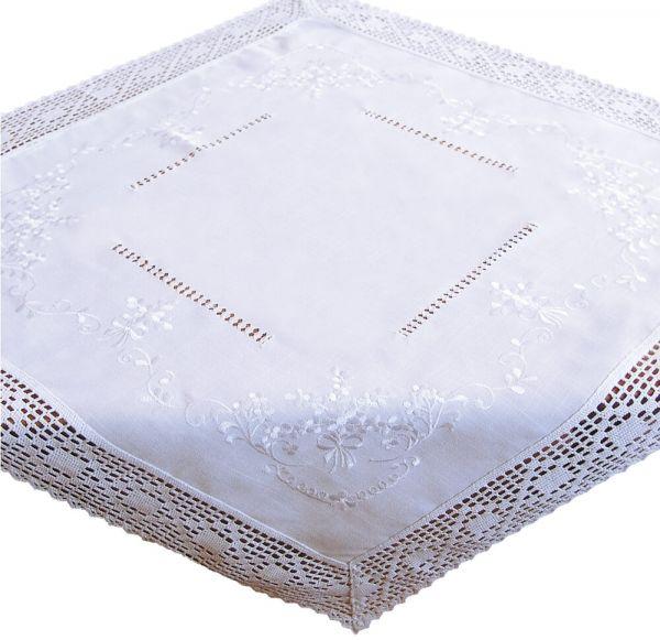 Tischdecke Mitteldecke weiß edle Stickerei & Häkelspitze Landhausstil 110x110cm