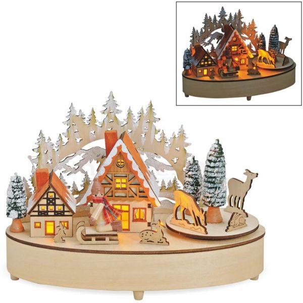 3D Winterszene Holzdeko Dorf LEDs & Musik Weihnachtsdeko / Batterie 21x11x13 cm