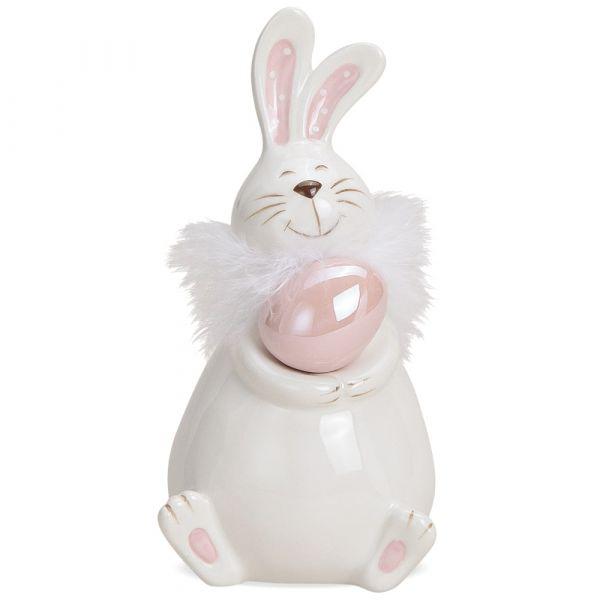 Niedlicher Osterhase mit Ei & Plüsch Keramik Osterdeko weiß rosa 1 Stk - 2 Größen