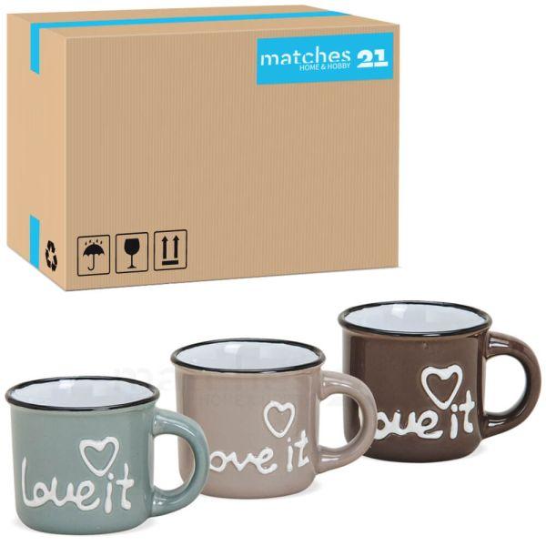 Espressotasse LOVE IT Herz Emaille-Optik 72 Stk Karton blau & braun Keramik 50 ml