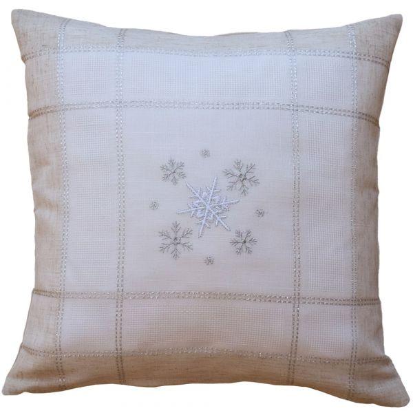 Kissenbezug Kissenhülle Weihnachten Schneeflocken edle Stickerei 40x40 cm beige
