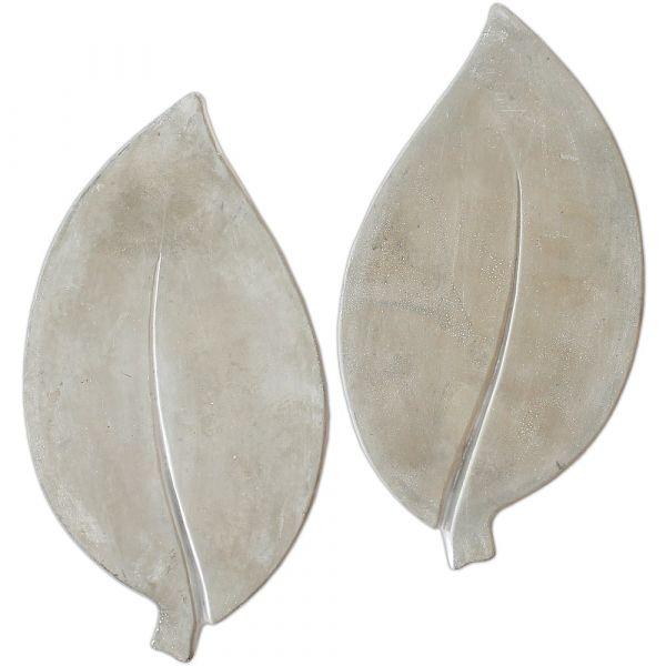 XXL Trittsteine Blätter Garten 1 Paar Tritt-Steine Blatt Beton 35x18 cm *B-WARE*