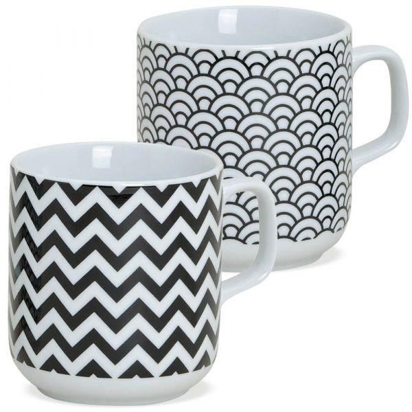 Tasse Kaffeetasse Retromuster schwarz weiß Porzellan 1 Stk *B-WARE* 9 cm / 250 ml