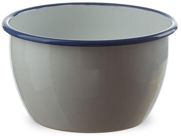 Email tiefe Schüssel Salatschüssel weiß mit blauem Rand Retro Emaille Ø 14x9 cm