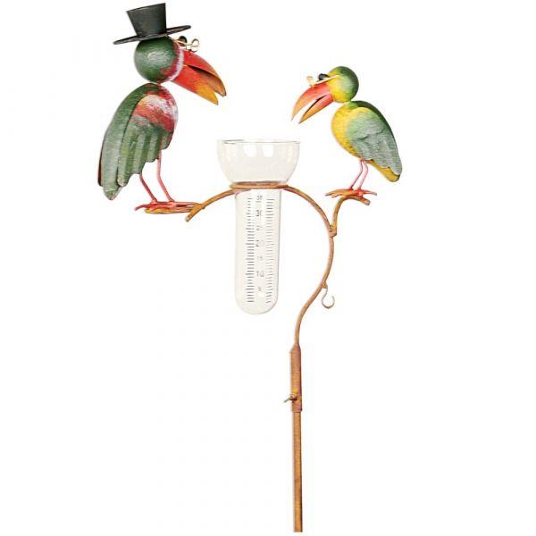 Regenmesser mit 2 Vogelfiguren Metall Gartendeko mit Erdspieß Metall 1 Stk 136 cm