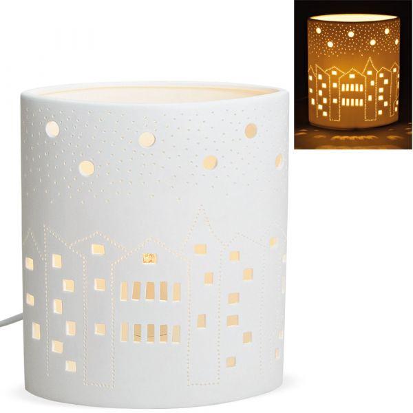 Tischlampe Nachttischlampe oval Häuser & Himmel 230 V Keramik weiß 1 Stk 16x20 cm