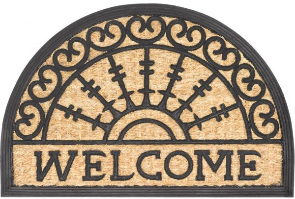 Fußmatte Fußabstreifer Kokos In- & Outdoor Gummi halbrund Welcome 40x60 cm