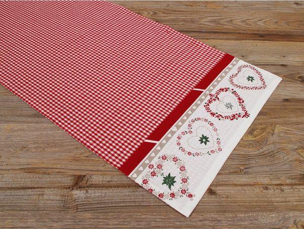 Tischläufer Mitteldecke FIONA Herzen Karo rot weiß 40x100 cm Landhaus 1 Stk