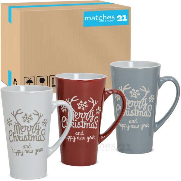Tassen Becher Weihnachtstassen Keramik Merry Christmas weiß grau rot 24 Stk 15 cm