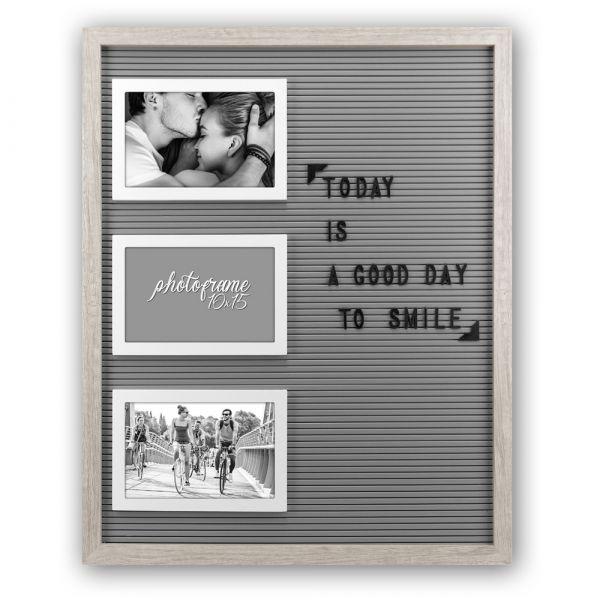 Bilderrahmen steckbare Buchstaben Letterboard Steckrahmen Holz grau 41x51,5 cm
