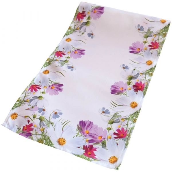 Tischläufer Mitteldecke Blumenwiese Blumen Frühling weiß Druck bunt 30x70 cm