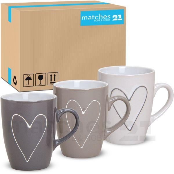 Tassen Becher Herzen Herzdekor grau beige weiß 36 Stk. Karton Keramik 250 ml