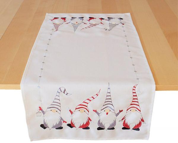 Tischläufer Mitteldecke Weihnachten drollige Wichtel Stick 40x85 cm wollweiß bunt