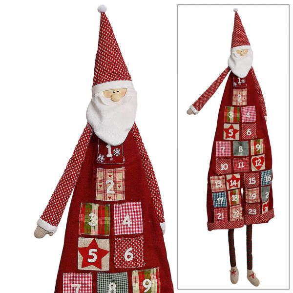 Adventskalender Weihnachtsmann Nikolaus mit Taschen zum Befüllen ca. 120 cm