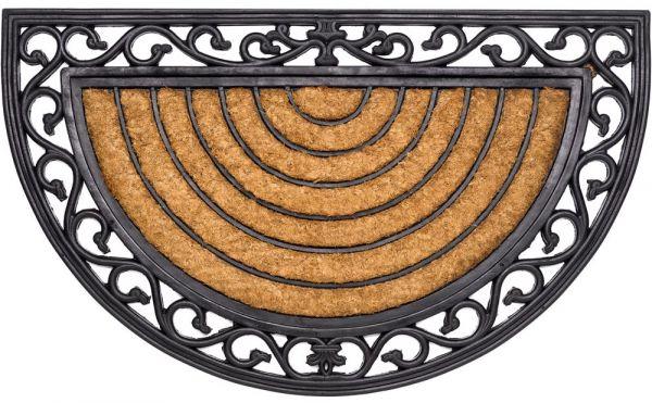 Fußmatte Fußabstreifer Kokos In- & Outdoor halbrund Gummirand 45x75 cm rutschfest
