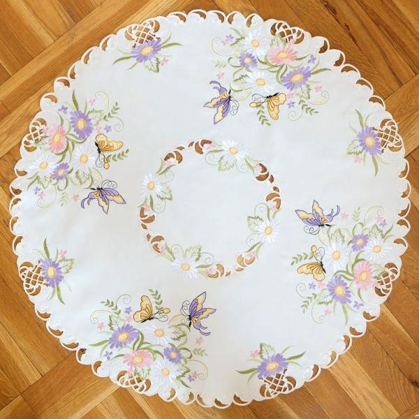 Mitteldecke Tischwäsche Schmetterlinge Blumen Zierkante Stick bunt Ø 85 cm rund
