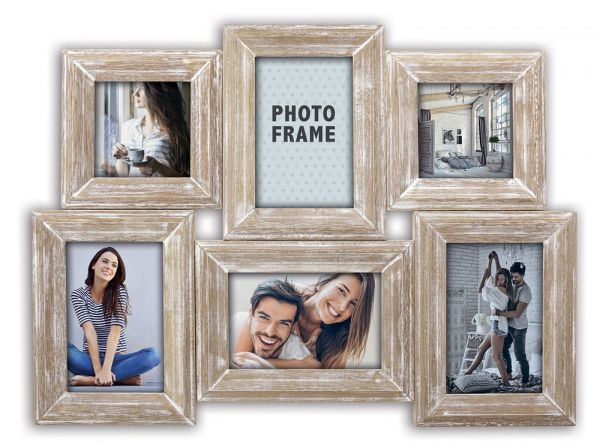 Collage 6 Fotos Galerierahmen Fotogalerie Holz Rahmen natur weiß gekalkt Antik
