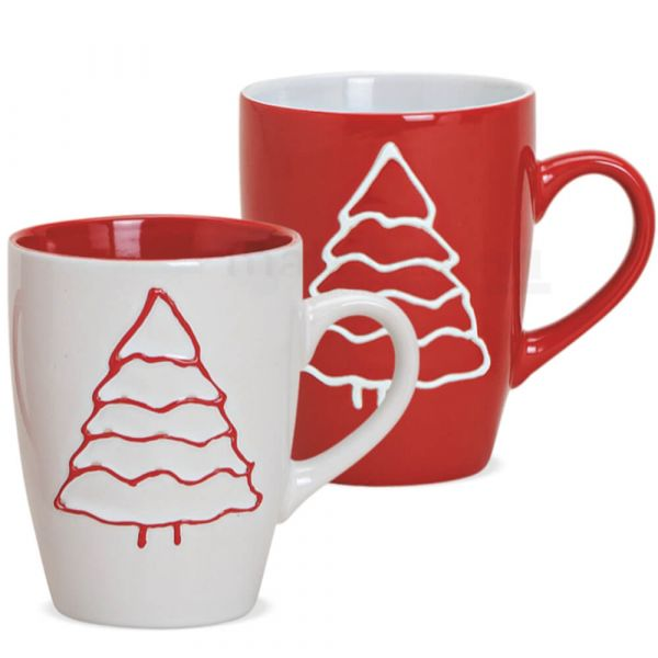 Tasse Weihnachtstasse Keramik Tannenbaum rot ODER weiß 1 Stk **B-Ware**