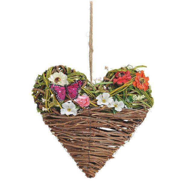 Herz Weide Hängedeko mit Blumenschmuck & Schmetterling Fensterdeko 1 Stk 25 cm