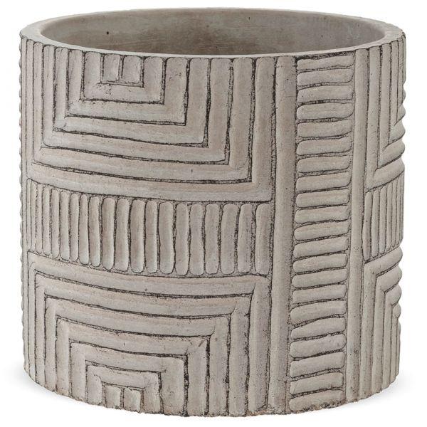 Pflanztopf Übertopf mit Rillen Struktur Muster Dekoration Zement grau 1 Stk Ø 12,5x11,5 cm