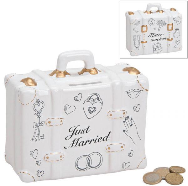 Spardose Koffer Hochzeit Hochzeitsgeschenk Geldgeschenk Sparbüchse Keramik 14 cm