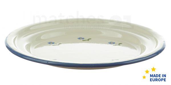 Kleiner Email Teller / Dessertteller Blumen Emaille Geschirr 18x2,5 cm