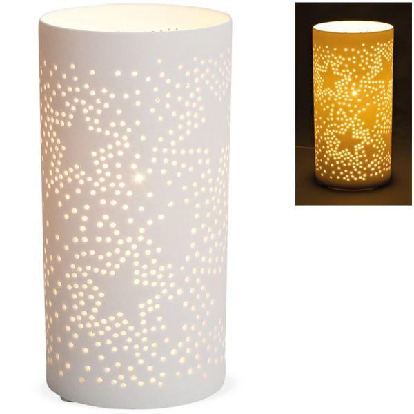Tischlampe Nachttischlampe Sterne & Punkte 230 V Porzellan weiß 1 Stk Ø 10x20 cm