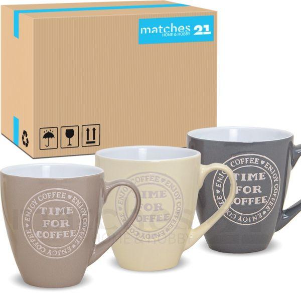 Große Jumbo Becher Tassen Kaffeebecher COFFEE TIME 24 Stk. Karton 400 ml