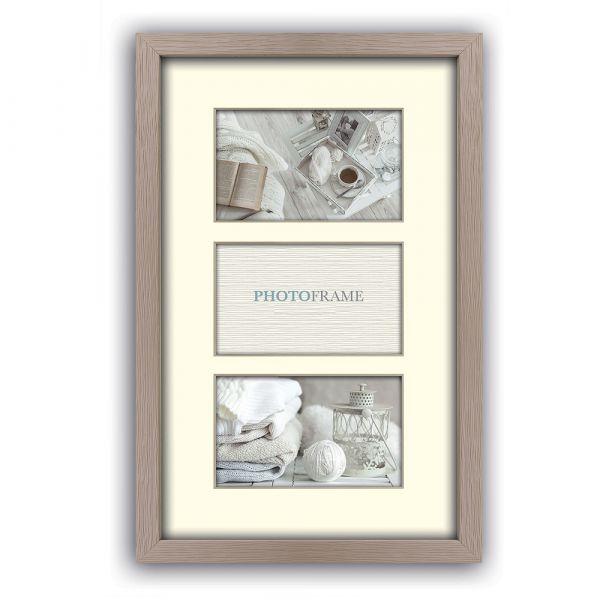 Bilderrahmen mit Passepartout für 3 Fotos Collage Multirahmen Holz beige 13x18 cm