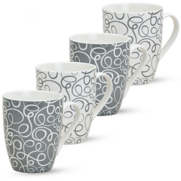 Tassen Becher Retro 4er Set Kaffeebecher grau weiß Porzellan 10 cm / 300 ml