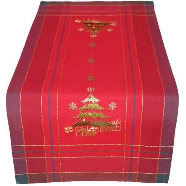 Tischläufer Mitteldecke Weihnachten Christbaum gestickt 40x90 cm rot bunt gold