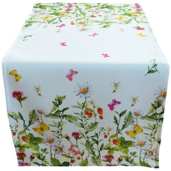 Tischläufer Tischwäsche Mitteldecke Blumenwiese & Schmetterlinge bunt 40x90 cm