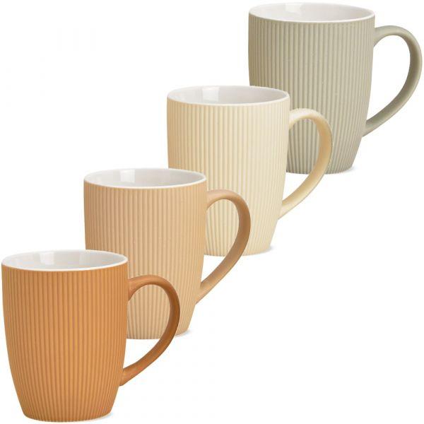 Kaffeetassen Tassen Rillen orange beige creme grau Steingut 4er Set je 10 cm