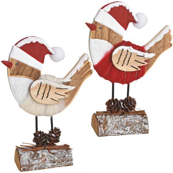 Holz Deko Vögel Winterdeko Holzfiguren Weihnachtsdeko rot weiß 2er sort 17 cm
