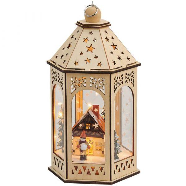 Holz Laterne Weihnachtsdeko Haus & Figur - LED Beleuchtung mit Batterie 16x30cm