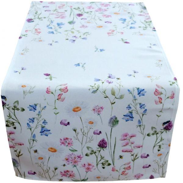 Tischläufer Tischwäsche Mitteldecke Wiesenblumen Blumen Blüten bunt 40x90 cm