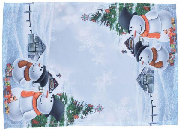 Tischset Mitteldecke Weihnachten Schneemänner Foto Druck weiß bunt 35x50 cm