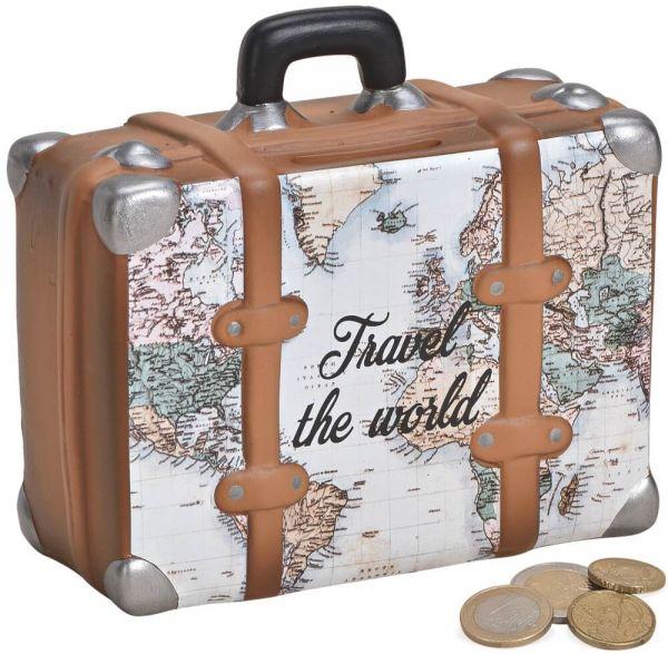 Spardose Urlaubskasse Weltkarte Koffer Sparbüchse Keramik weiß 1 Stk. 14x13 cm