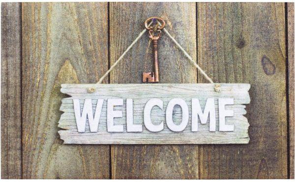 Fußmatte Gummimatte OUTDOOR DECOR Welcome Schild & Schlüssel auf Holzwand 45x75 cm