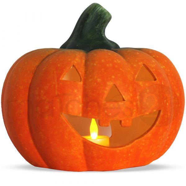 Jack O'Lantern Halloween Kürbis / Windlicht 22x20 cm Ton + LED-Teelicht