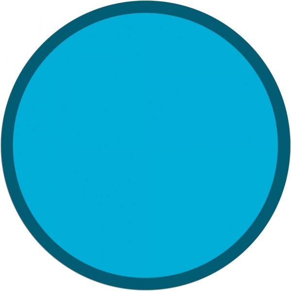Fußmatte Türmatte Teppich UNI einfarbig rutschfest Ø 95 cm rund Farbe türkis