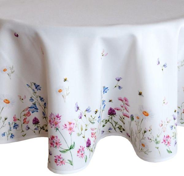 Tischdecke Mitteldecke Tischwäsche Wiesenblumen Blumen Blüten bunt Ø 170 cm