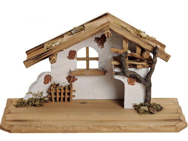 Große Krippe Holz Weihnachtskrippe Stall weiß / braun 38x19x21 cm